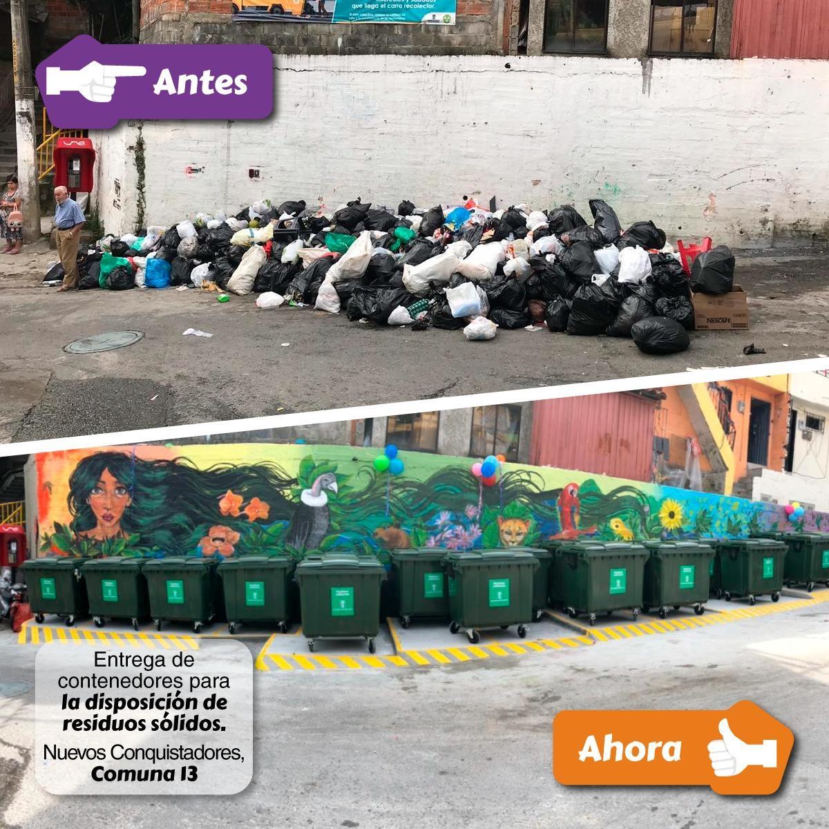 Instalación de 34 contenedores de residuos sólidos en la comuna 13